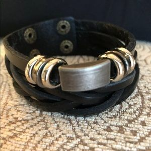 Multilayer leather cuff men's bracelet in black